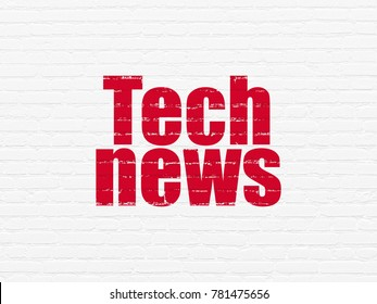 News concept: Painted red text Tech News on White Brick wall background