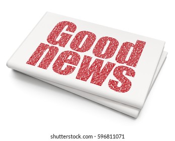 News concept: Pixelated red text Good News on Blank Newspaper background, 3D rendering