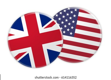 News Concept: UK Great Britain Flag Button On US Flag Button, 3d illustration on white background