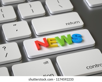 News key on the keyboard, 3d rendering,conceptual image
