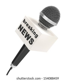 news microphone with blank box, isolated on a white background