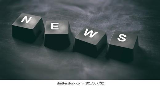 News online concept. News written on keyboard keys on blackboard background, banner, view from above. 3d illustration