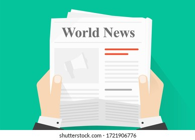 News paper reading or newspaper journal holding man human hands top view flat cartoon illustration, concept of daily news press magazine read isolated on color background image
