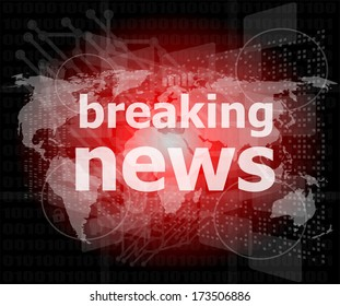 News and press concept: words breaking news on business digital screen