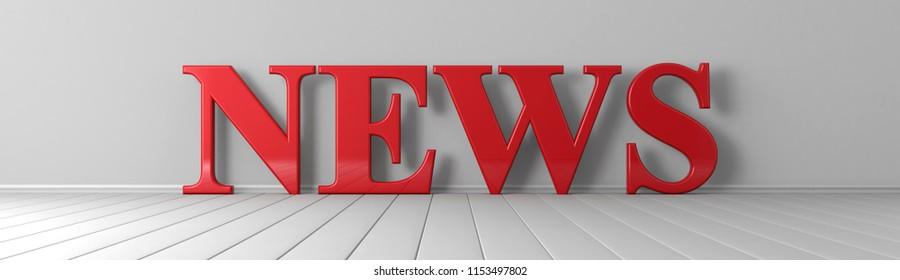 News red text wide banner 3D render