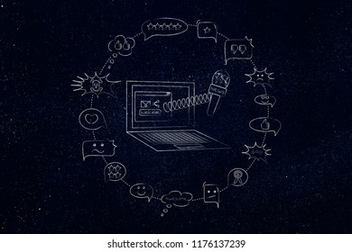 news report conceptual illustration: laptop with news microphone surrounded by posiitve and negative comments