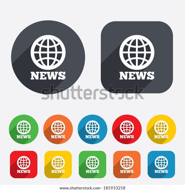 News sign icon. World globe symbol. Circles and rounded squares 12 buttons.