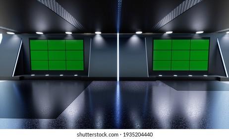 News Studio, Backdrop For TV Shows .TV On Wall.3D Virtual News Studio Background, 3d illustration