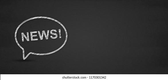 News word and speech bubble on a blackboard.