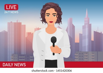Newscaster pretty beautiful woman reports breaking news. Media TV news concept illustration.