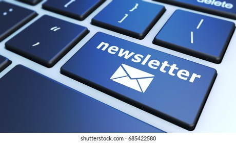 Newsletter concept with sign and email icon on a computer keyboard button 3D illustration.