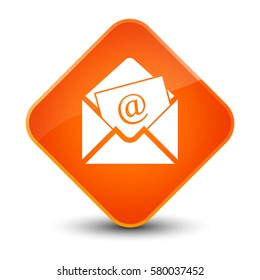 Newsletter email icon isolated on special orange diamond button abstract illustration