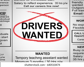 Newspaper clipping with drivers wanted circled in red pen