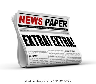 newspaper concept 3d illustration isolated on white background