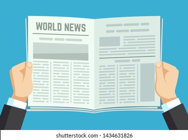 Newspaper in hands. Businessman holding financial gazette. Man reading news in magazine. Newspaper article, businessman reader world news illustration
