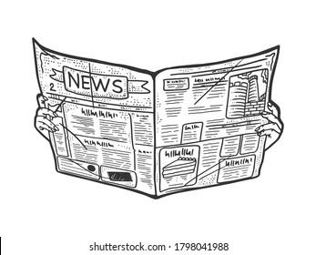 Newspaper in hands sketch engraving raster illustration. T-shirt apparel print design. Scratch board imitation. Black and white hand drawn image.