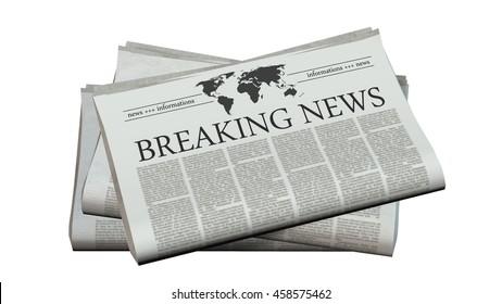 newspaper with the headline breaking news - 3d rendering
