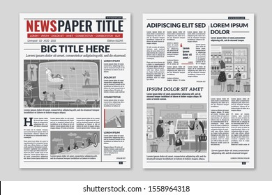 Newspaper layout. News column articles newsprint magazine design. Brochure newspaper sheets. Editorial journal press printwith abstract text and daily advertising construction template