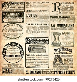 "Newspaper page with advertisement - Vintage engraved illustration - ""La mode illustree"" by Firmin-Didot et Cie in 1897 France"