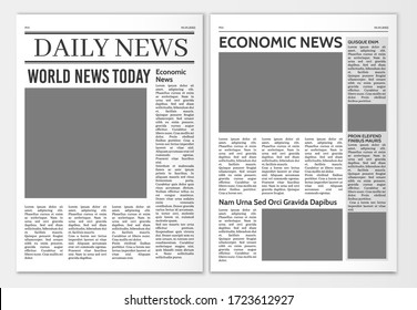 Newspaper pages template. News paper headline mockup. Tabloid journal simple background. Newsprint modern style