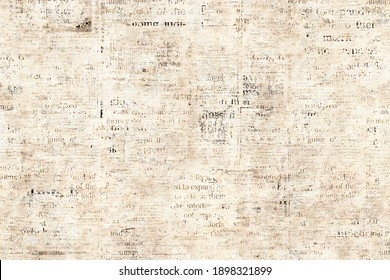 Newspaper paper grunge aged newsprint pattern background. Vintage old newspapers template texture. Unreadable news horizontal page with place for text, images. Beige sepia color art collage.