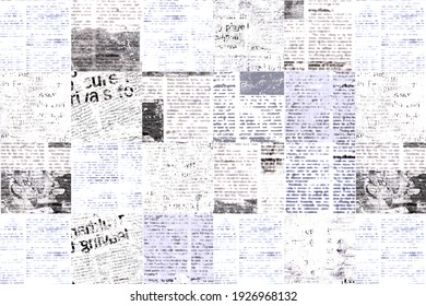 Newspaper paper grunge aged newsprint pattern background. Vintage old newspapers template texture. Unreadable news horizontal page with place for text, images. Black gray white color art collage.