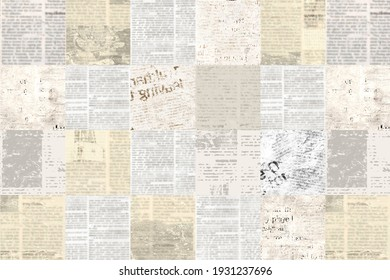 Newspaper paper grunge aged newsprint pattern background. Vintage old newspapers template texture. Unreadable news horizontal page with place for text, images. Grey beige color art collage.