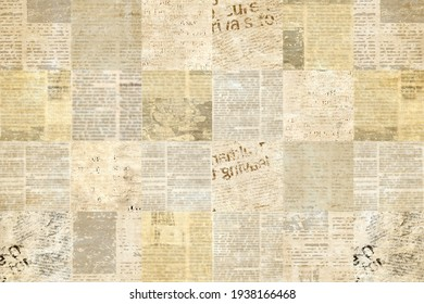 Newspaper paper grunge aged newsprint pattern background. Vintage old newspapers template texture. Unreadable news horizontal page with place for text, images. Brown art collage.