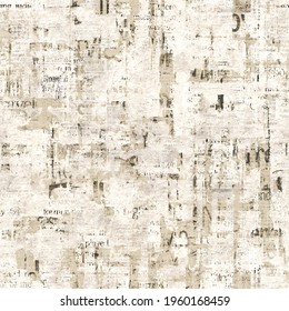 Newspaper paper grunge aged newsprint seamless pattern background. Vintage old newspapers template texture. Unreadable news square page. Gray beige art collage. Print for textile, wallpaper, wrapping.