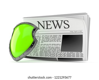 Newspaper with protective shield isolated on white background. 3d illustration