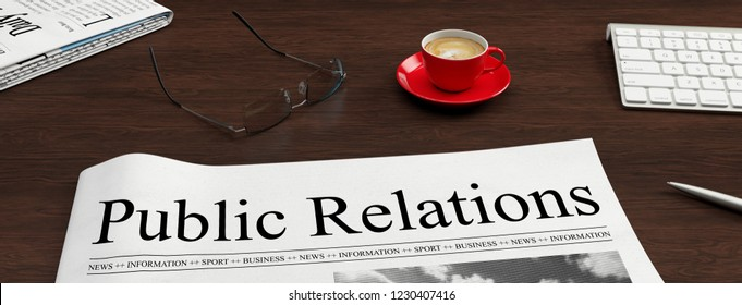Newspaper with public relations headline lies on a desk as a PR and communication concept (3D Rendering)