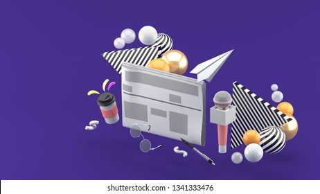 Newspapers surrounded by microphones, coffee mugs, glasses and pens On a purple background.-3d rendering.