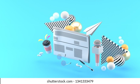 Newspapers surrounded by microphones, coffee mugs, glasses and pens On a blue background.-3d rendering.