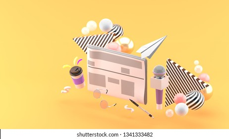 Newspapers surrounded by microphones, coffee mugs, glasses and pens On an orange background.-3d rendering.