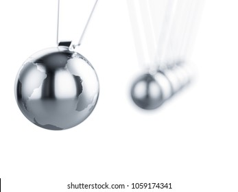Newton pendulum with Earth globe metal chrome sphere. 3d rendering isolated on white