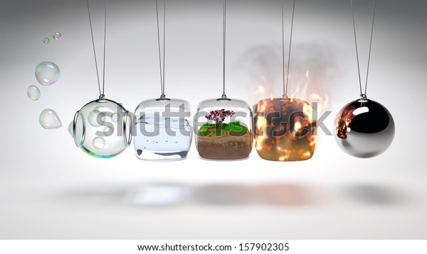Newtons Cradle as 4 elements (air, water, earth, fire)
