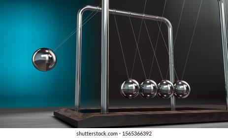 Newton's cradle in action. 3D rendering