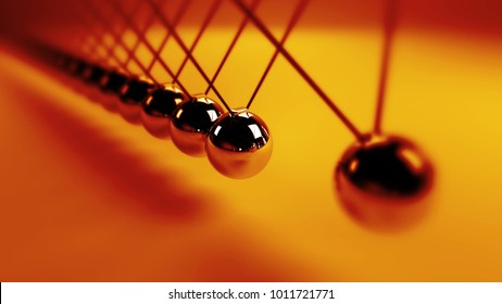 Newton's cradle, action and reaction concept, metal balls in motion (3d illustration background)