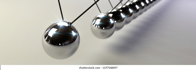 Newton's cradle, action and reaction concept, series of swinging spheres, device that demonstrates conservation of momentum and energy (3d illustration background banner)