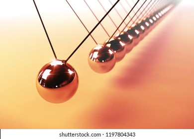Newton's cradle, action and reaction concept, series of swinging spheres, device that demonstrates conservation of momentum and energy (3d render background)