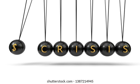 Newton's Cradle black balls and golden currency symbols. suitable for finance, economy and business themes. 3d illustration