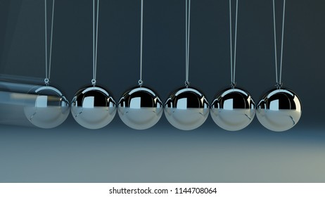 Newton's cradle concept. Metal balls hanging on strings. One ball is blurred by motion. 3D render