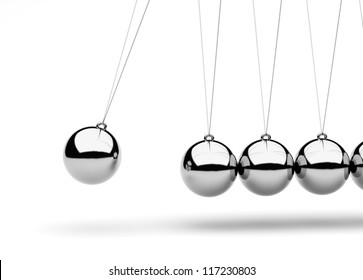 Newton's Cradle isolated on white/3D render