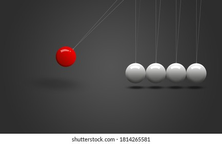 newton's cradle: moving red ball and stable white balls on light grey background. newton science concept