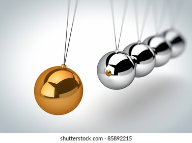 Newton's cradle with one golden ball