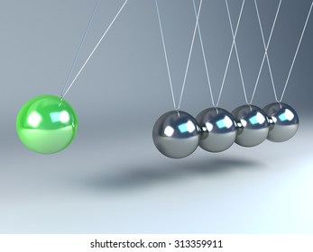 Newton's cradle with one green ball and four chrome balls.