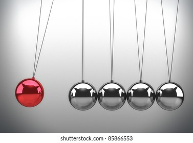 Newton's cradle with one red ball - 3d illustration