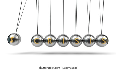 Newton's Cradle silver balls and golden currency symbols. suitable for finance, economy and business themes. 3d illustration