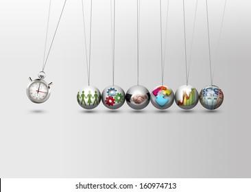 Newtons cradle - time management concept