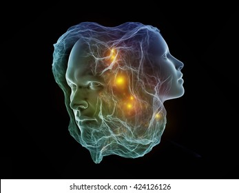 Next Generation AI series. Background design of fusion of human head and fractal shape on the subject of mind, consciousness and spirituality